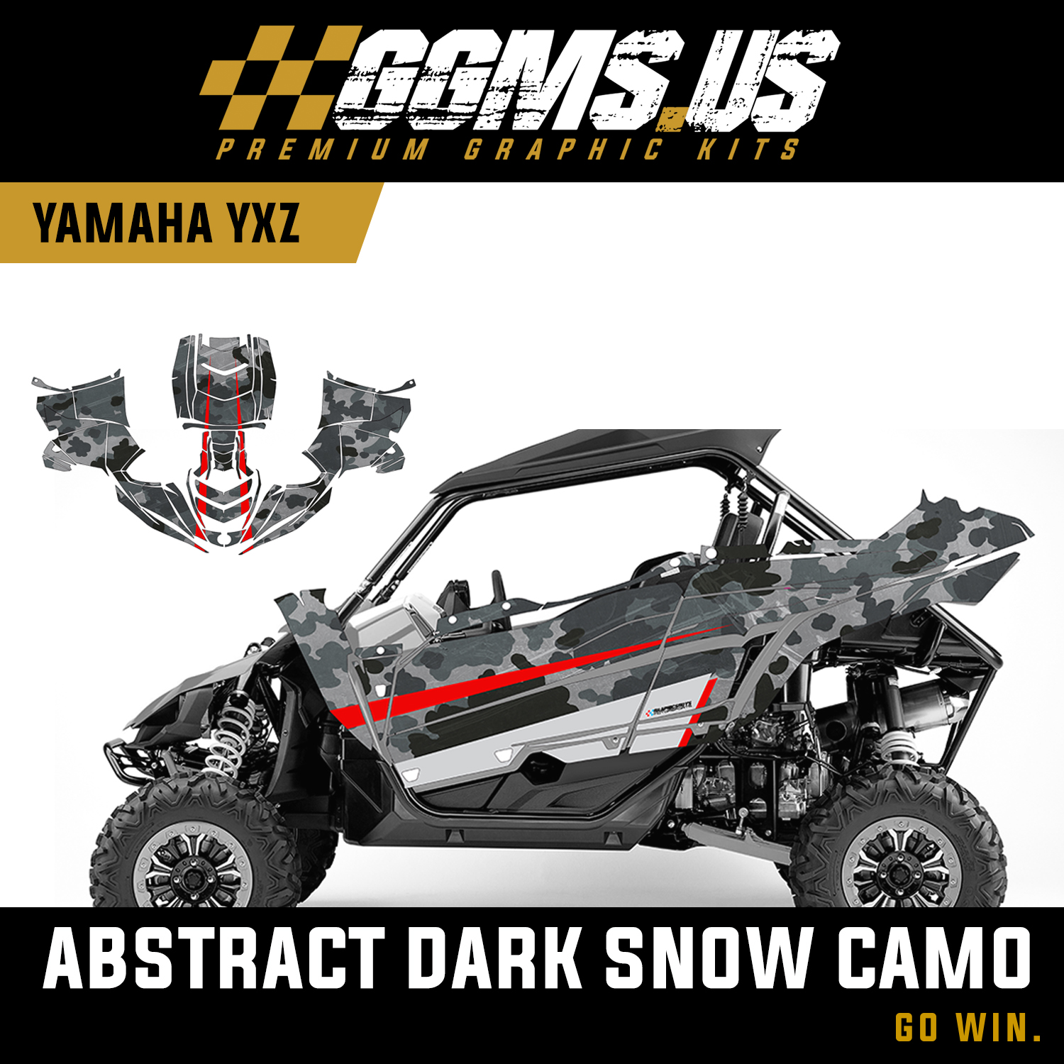 utv wrap yamaha yxz1000rabstract dark snow camo. Black Bedroom Furniture Sets. Home Design Ideas